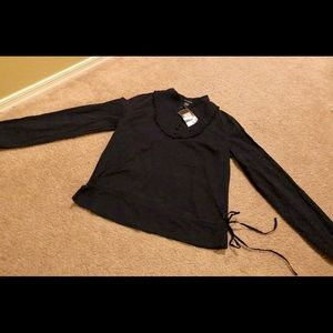 Black Lightweight long sleeve blouse with side tie
